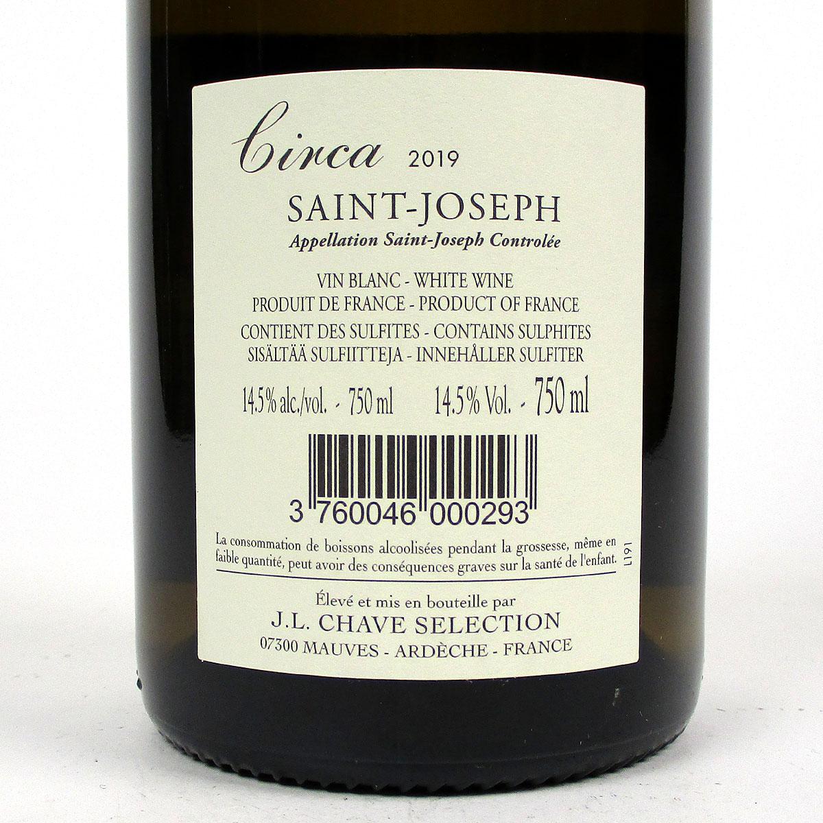 Saint-Joseph: Jean-Louis Chave Sélection 'Circa' Blanc 2019 - Bottle Rear Label