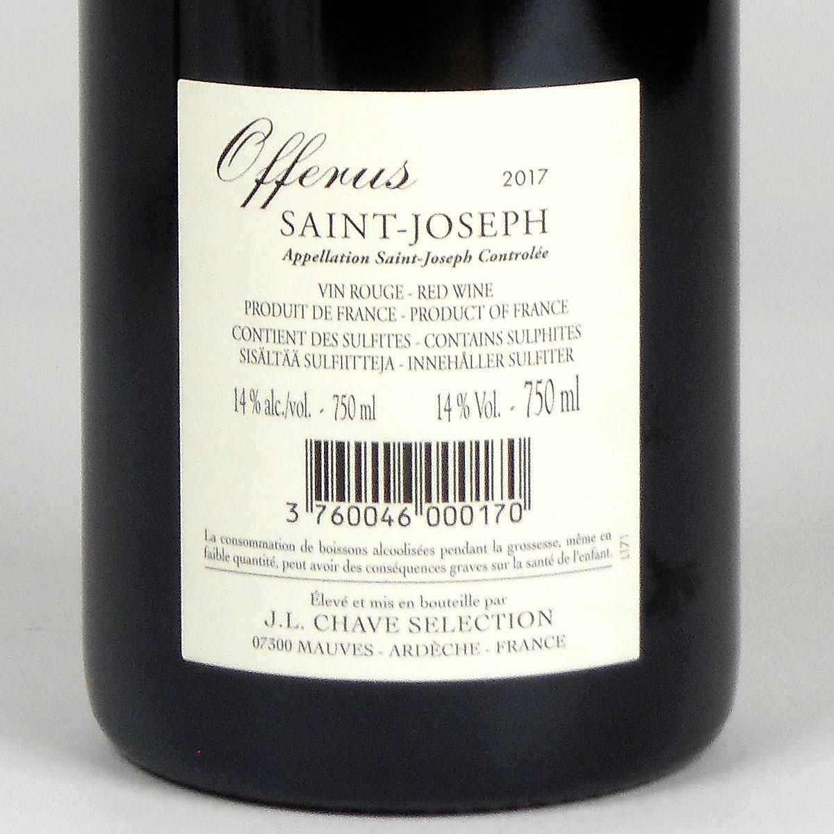 Saint-Joseph: Jean-Louis Chave Sélection 'Offerus' Rouge 2017 - Wine Bottle Rear Label