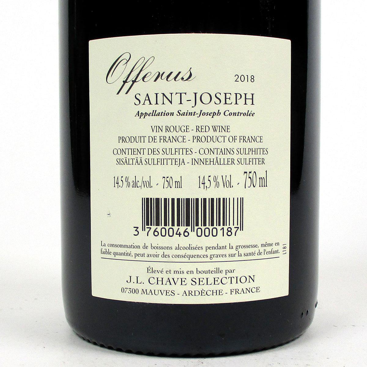 Saint-Joseph: Jean-Louis Chave Sélection 'Offerus' Rouge 2018 - Bottle rear Label