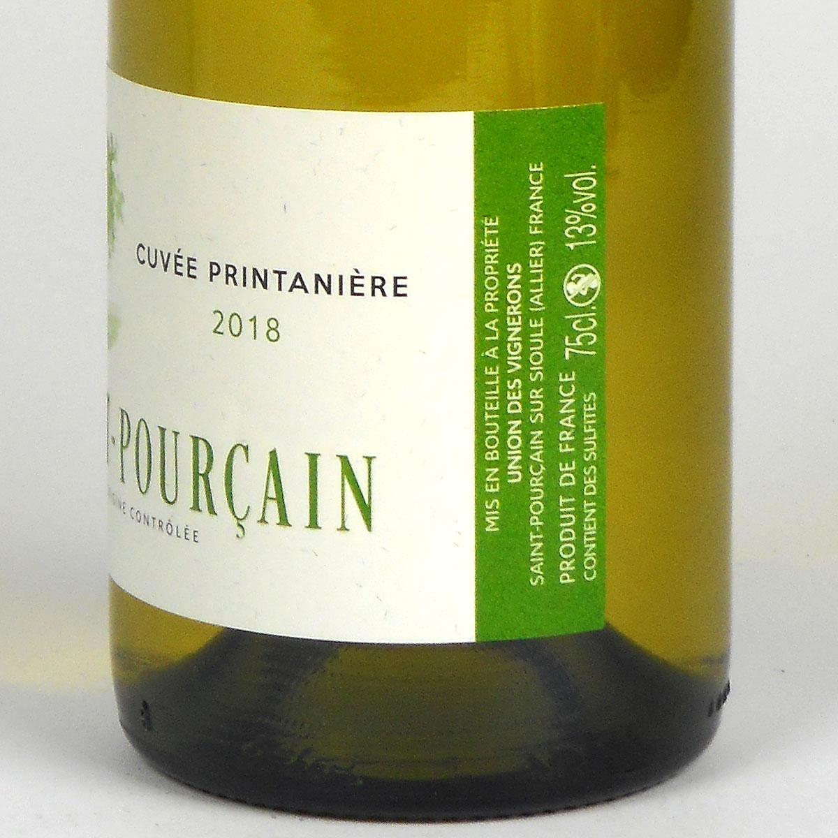 Saint-Pourçain: 'Cuvée Printanière' Blanc 2018 - Bottle Label