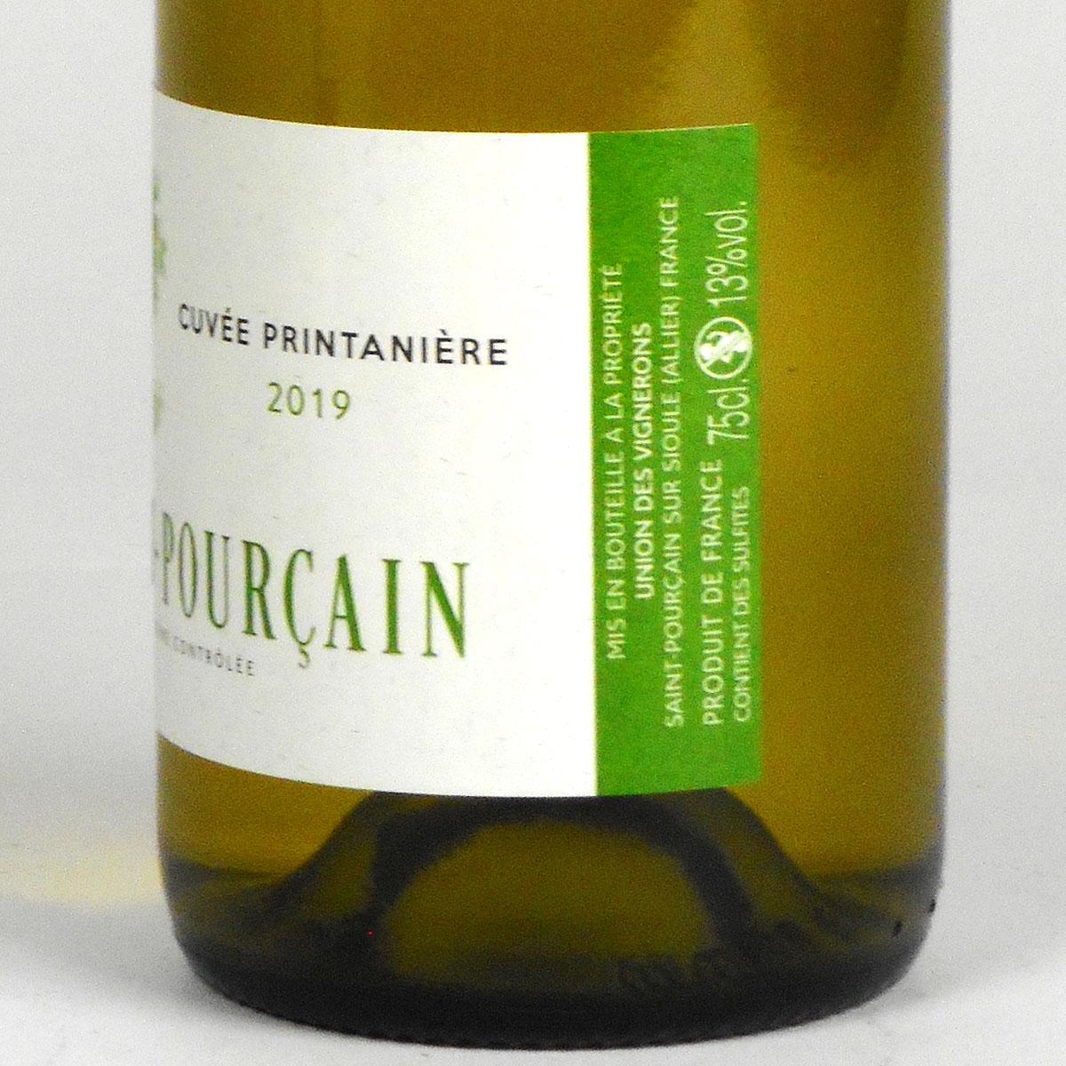 Saint-Pourçain: 'Cuvée Printanière' Blanc 2019 - Bottle Side Label