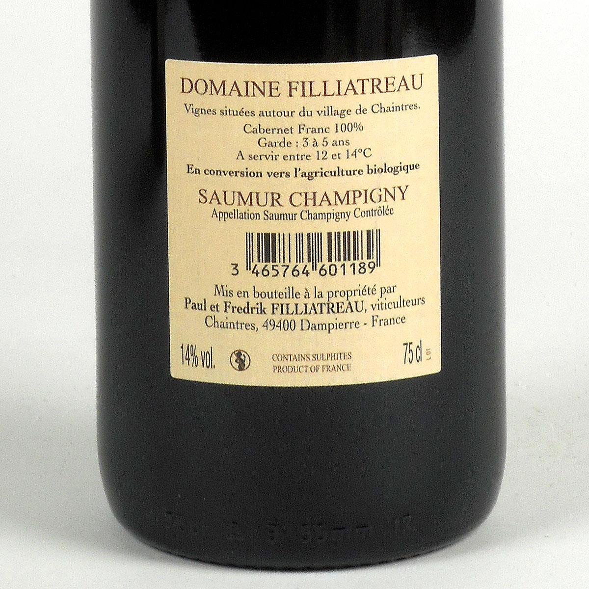 Saumur Champigny: Domaine Filliatreau 2018 - Bottle Rear Label