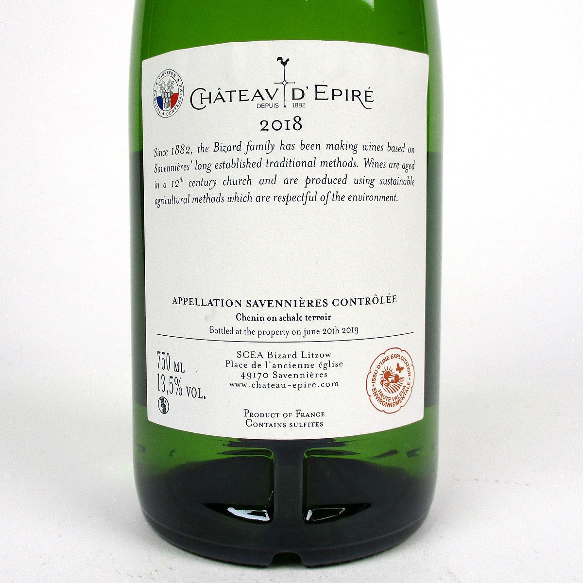 Savennières: Château d'Epiré 'Comtesse de las Cases' Moelleux 2018 - Bottle Rear Label
