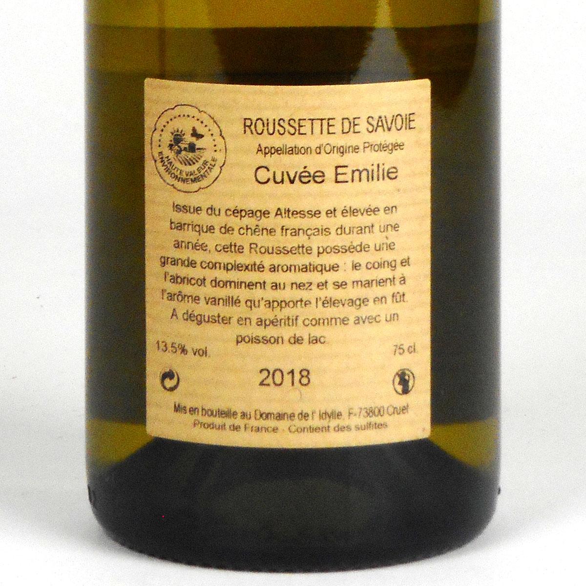 Savoie: Domaine de L'Idylle 'Cuvée Emilie' Roussette 2018 - Bottle Rear Label