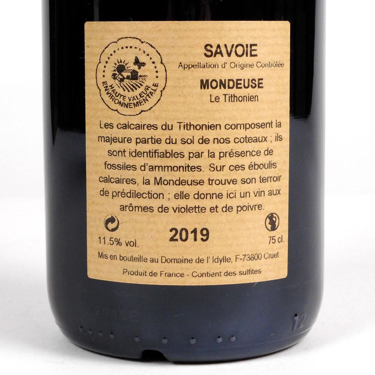 Savoie: Domaine de L'Idylle Mondeuse 'Le Tithonien' 2019 - Bottle Rear Label