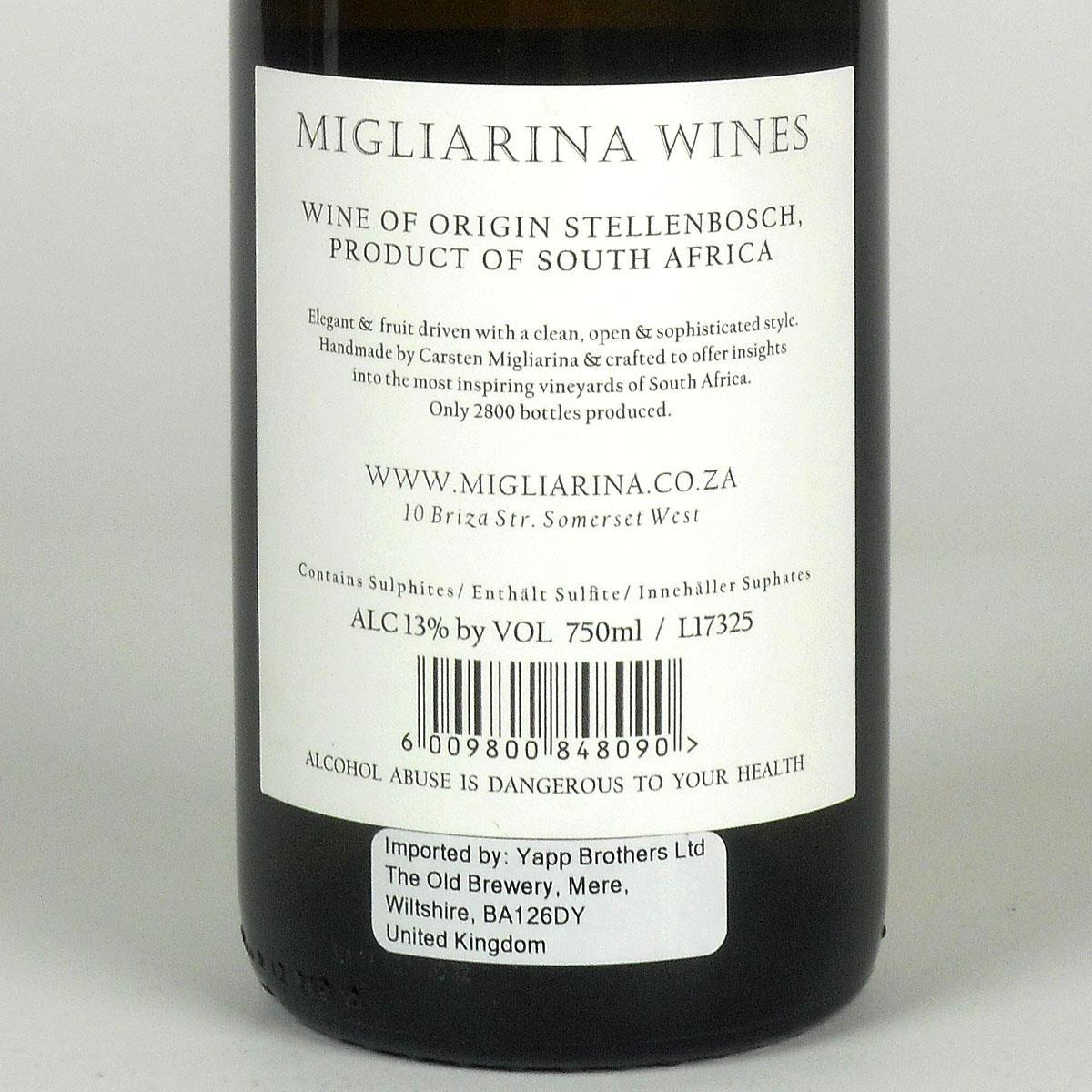 Stellenbosch: Migliarina Chenin Blanc 2017 - Bottle Rear Label