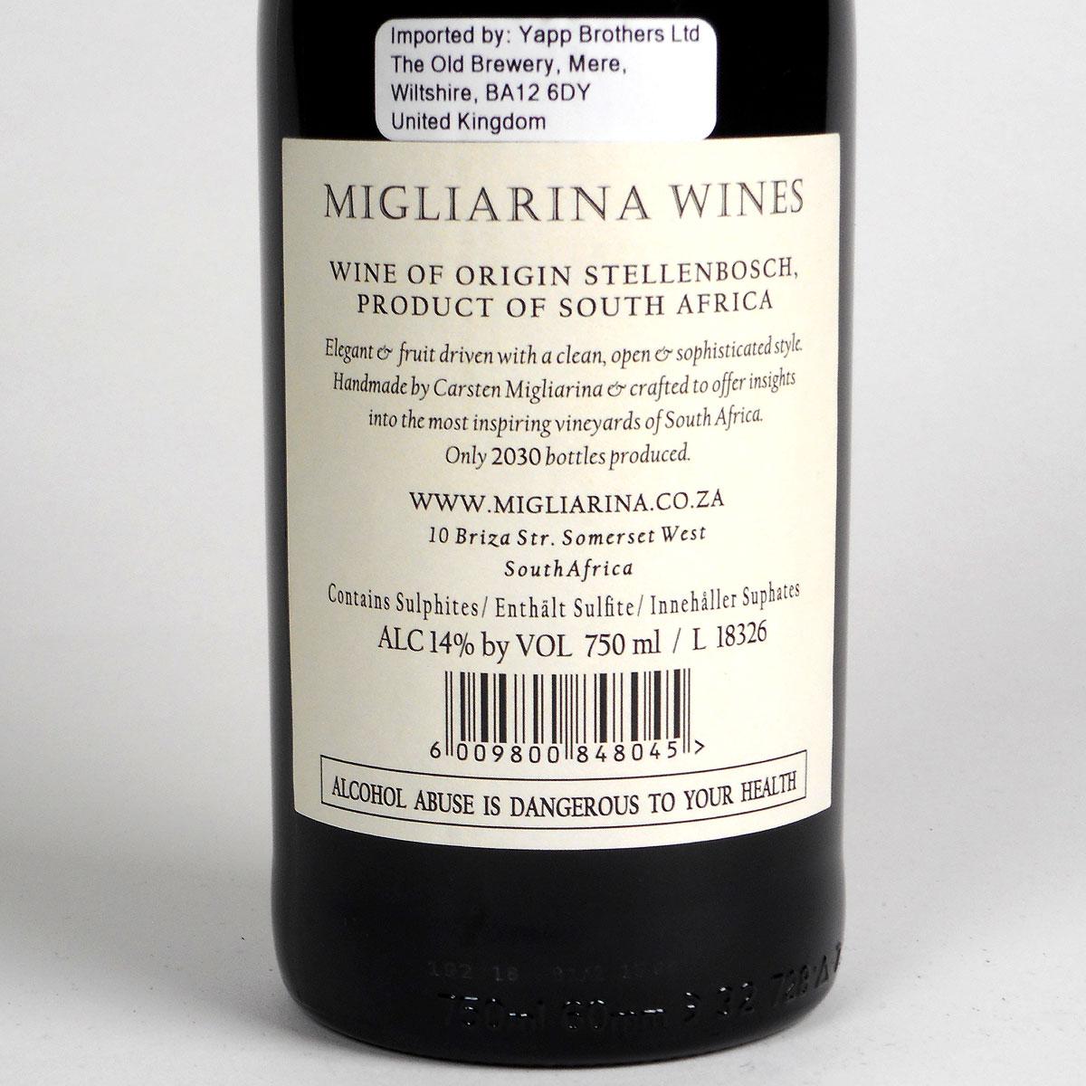 Stellenbosch: Migliarina Syrah 2017 - Bottle Rear Label