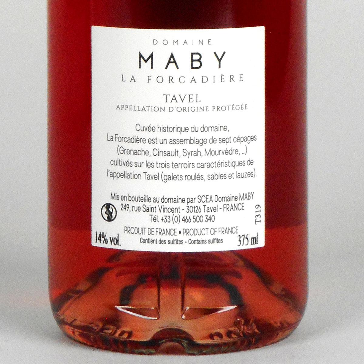 Tavel: Domaine Maby La Forcadière 2019 - Bottle Rear Label