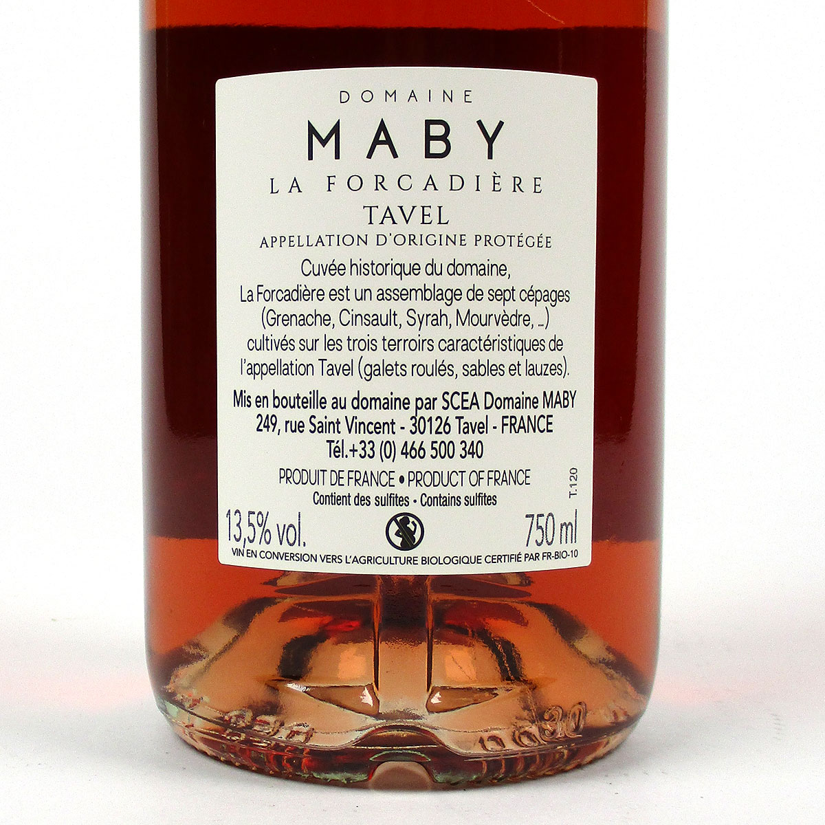 Tavel: Domaine Maby 'La Forcadière' 2020 - Bottle Rear Label