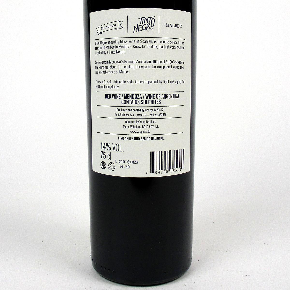 Tinto Negro: Mendoza Malbec 2019 - Bottle Rear Label