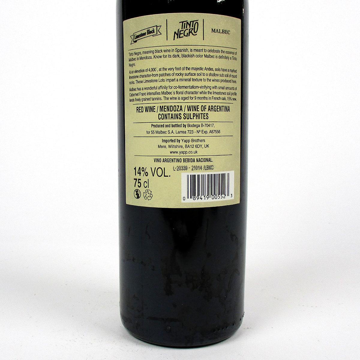 Tinto Negro: Uco Valley Malbec Cabernet Franc 'Limestone Block' 2018 - Bottle Rear Label