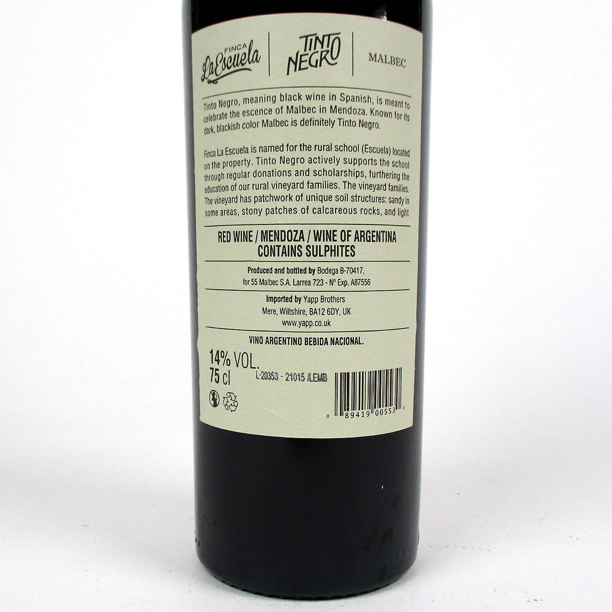 Tinto Negro: Uco Valley Malbec 'Finca La Escuela' 2018 - Bottle Rear Label
