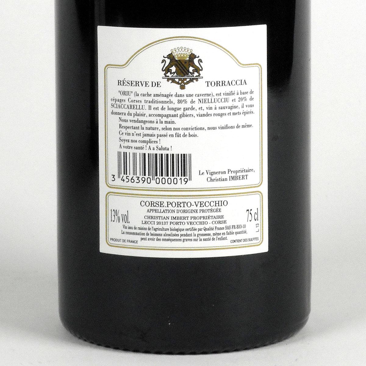 Vin de Corse Porto Vecchio: Domaine de Torraccia: Cuvée Oriu 2015 - Bottle Rear Label