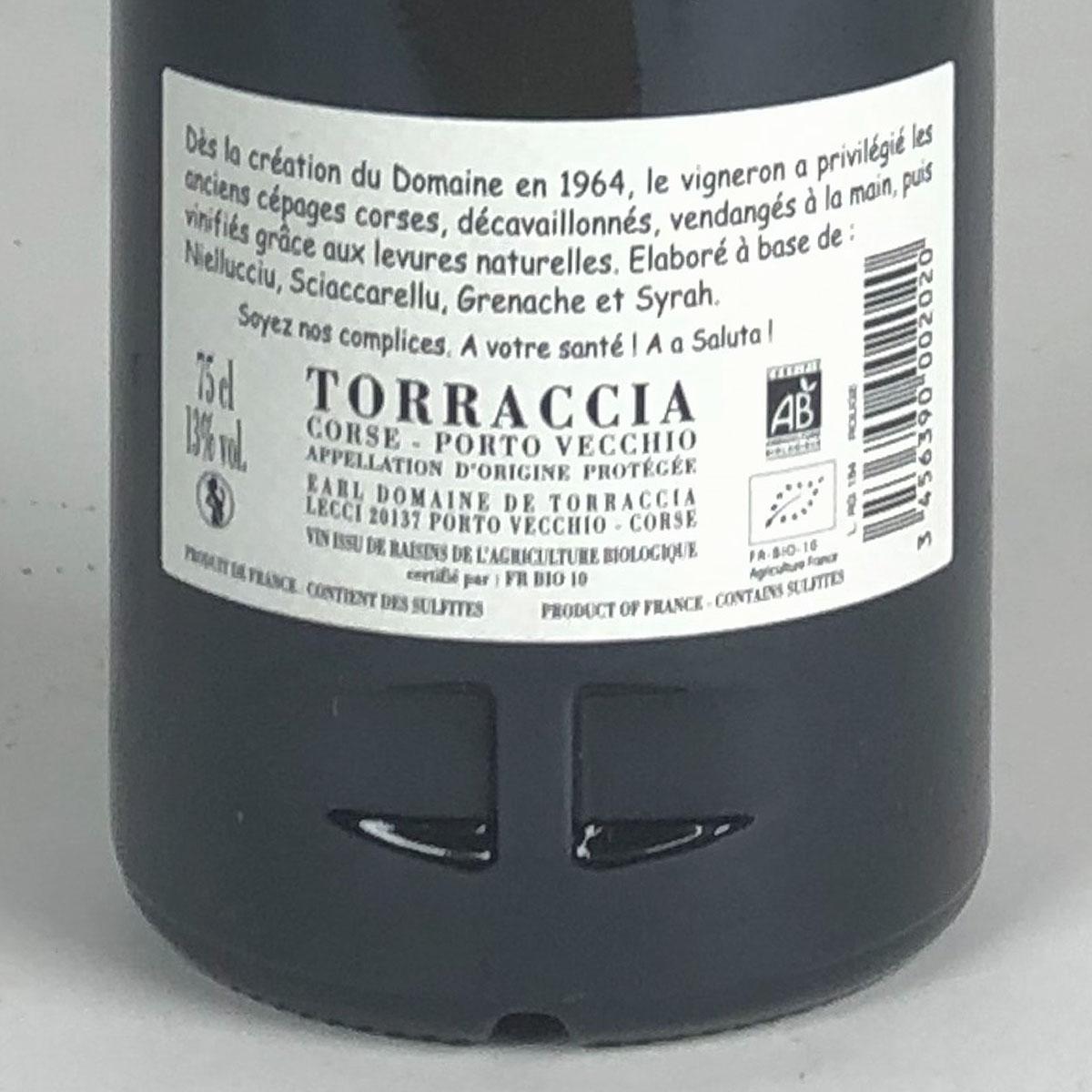 Vin de Corse Porto Vecchio: Domaine de Torraccia Rouge 2016 - Bottle Rear Label