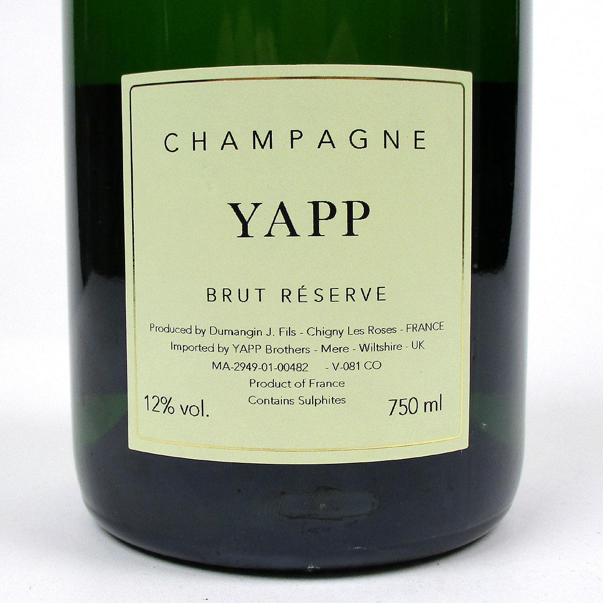 Yapp Champagne: Brut NV - Bottle Rear Label