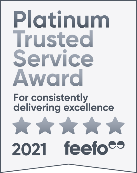 Platinum Trusted Service Award 2021, Feefo