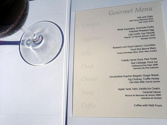 Lords of the Manor - Rhone dinner menu