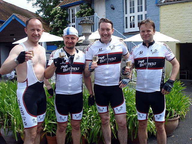 Team Yapp enjoying a spot of Dumangin Champagne instead of electrolyte sports drink
