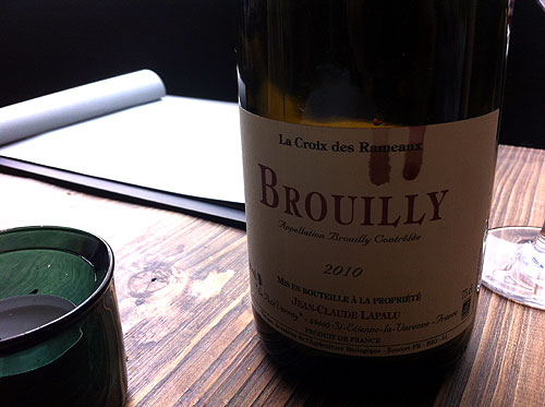 Dabbous wine list - organic Brouilly 2010