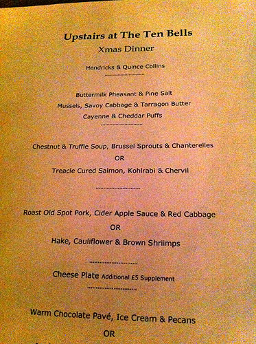 Upstairs at The Ten Bells - menu de nuit