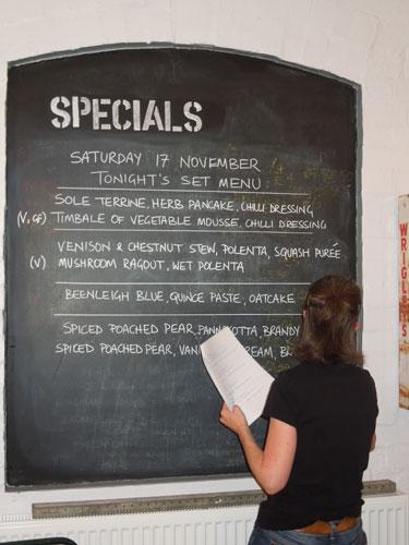 The Works Canteen - Menu Blackboard