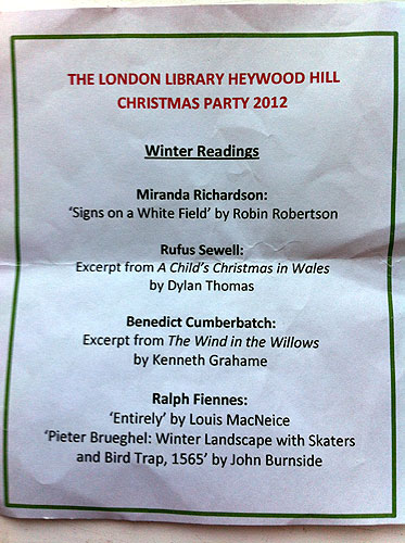 London Library Heywood Hill Christmas Party 2012 - Reading List