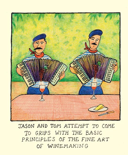 Jason and Tom making wine