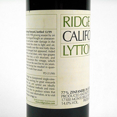 Ridge Vineyards: Santa Cruz, California