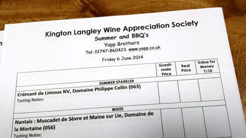 KLWAS wine tasting sheet