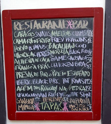 tapas bar menu