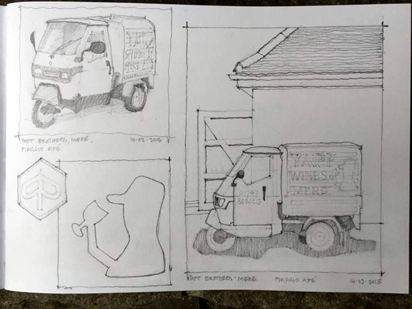 Urban sketchers - Yapp wines, Mere