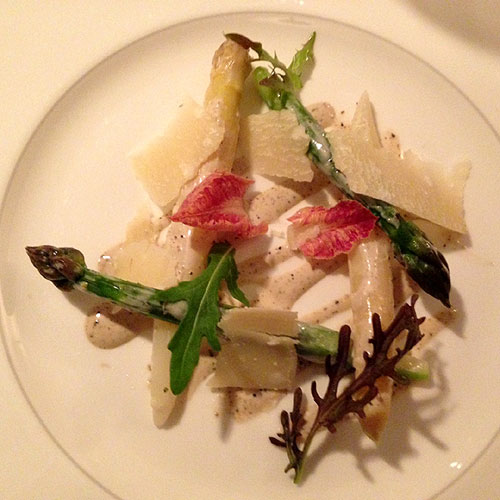 Asparagus with parmesan shavings and a truffle dressing