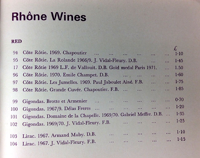 Yapp wine list 1972