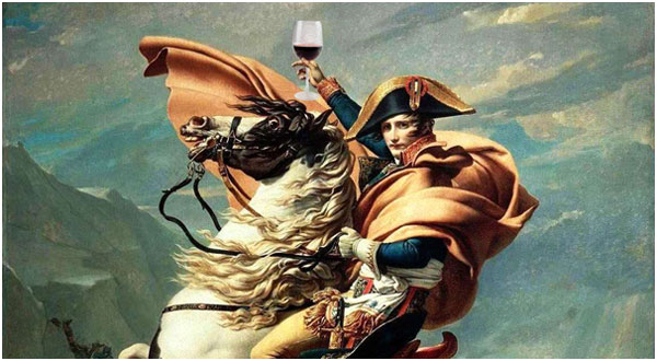 Napoleon Bonaparte portrait with wine glass
