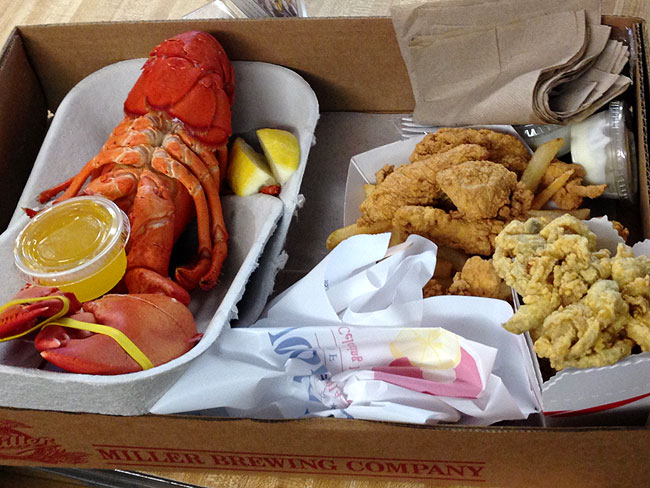 Woodman's of Essex - lobster, fried clams