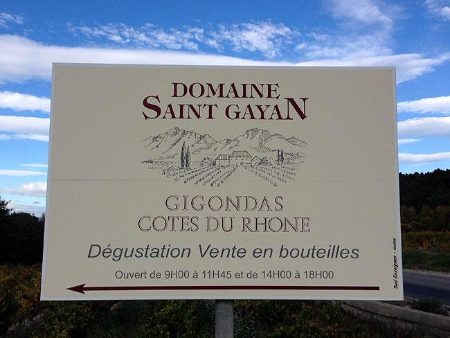 Domaine Saint Gayan sign