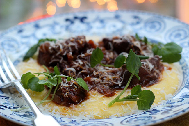 Braised venison with wet polenta, butter and Parmesan.