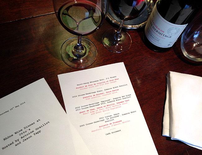 Ottos Restaurant - Antoine Graillot - Rhone dinner