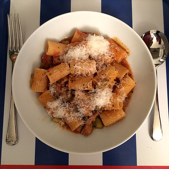 Braised pork with Rigatoni and parmesan