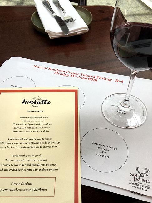 Henrietta Hotel wine tasting