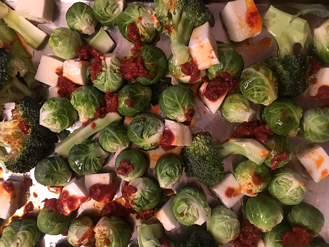 Roasted Sprouts, Broccoli, Halloumi & Harissa