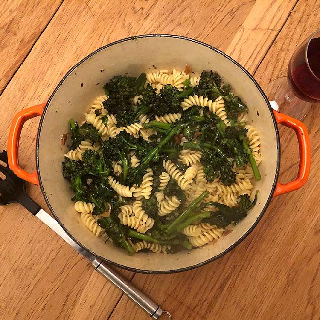 Purple Sprouting Broccoli with Fusilli, Chilli and Garlic