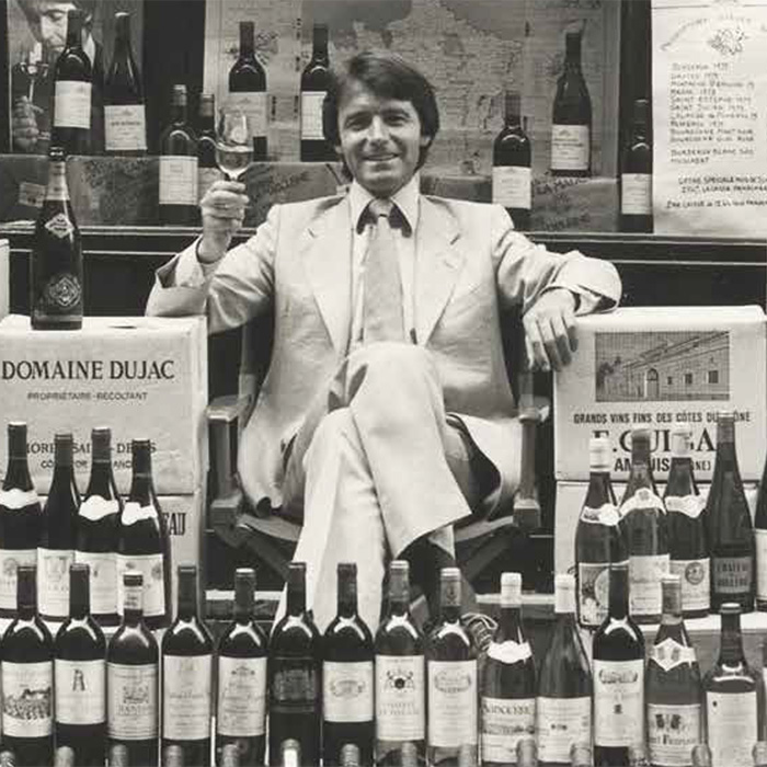 """Steven Spurrier at 'Cave de la Madeleine' Paris circa 1976 (from """"Wine – a way of life"""" – credit: Everyman's Library)"""