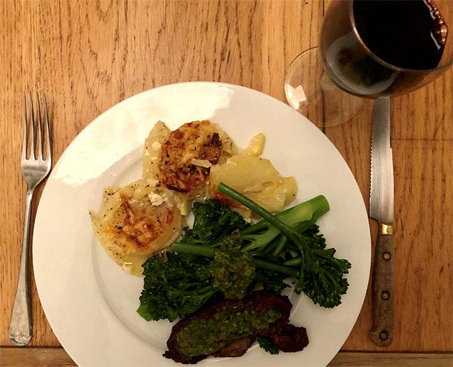 Lamb Potatoes Dauphinoise Broccoli Chimichurri