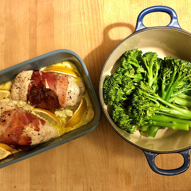 chicken - parma ham - broccoli