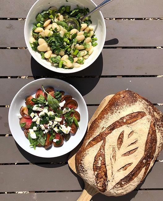 Sourdough tomato bean salad