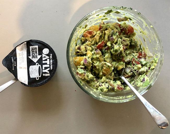 Guacamole and Oat Creme Fresh