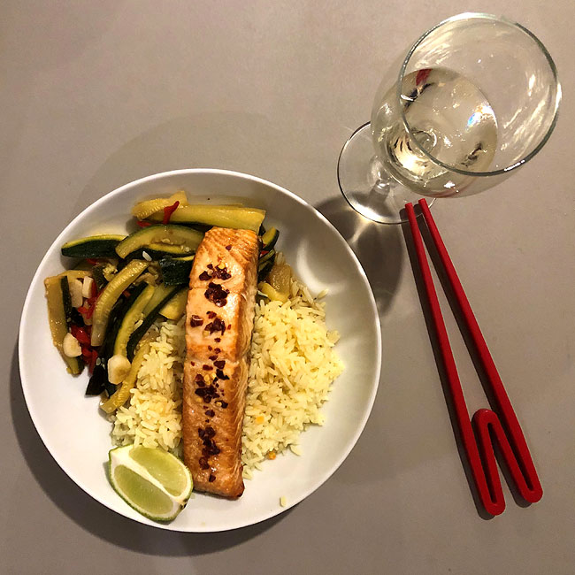 Roast Salmon with Boiled Rice and Stir-Fried Courgettes
