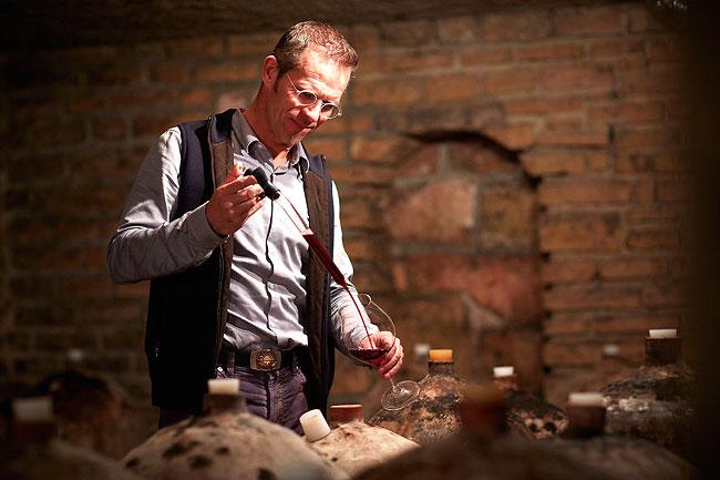 Frédéric Magnien in his cellar