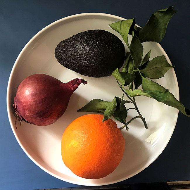 Orange and avocado salad - ingredients